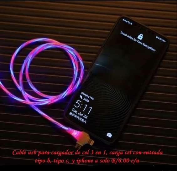Novedoso cable usb con luz led para cargar celular 3 en 1, carga celulares con entrada, ti